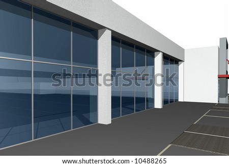 Close-up of 3D render of modern business center over white background