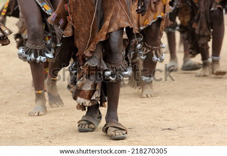 Close up of dancing Hamer women on a bull jumping ceremony in Lower Omo Valley, Ethiopia - stock photo