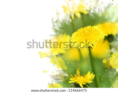 Close-up of dandelion flower.Watercolor effect - stock photo