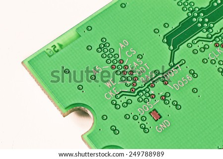 close up of DDR2 memory module - stock photo