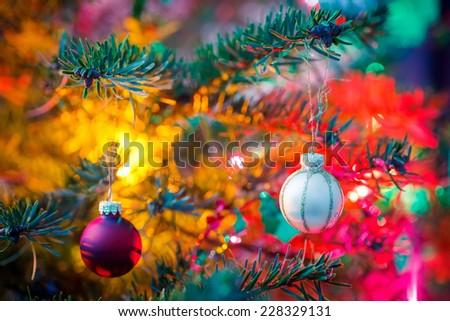 Close-up of decorated x-mas tree - stock photo