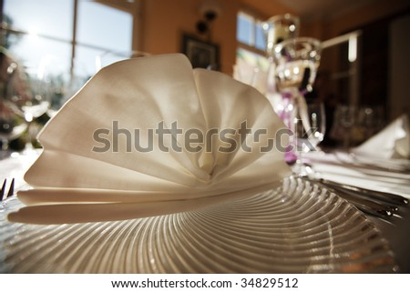 Close-up of decoration of a dinnertable. - stock photo