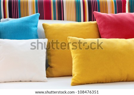 close up of Decorative pillow natural Fabric - stock photo