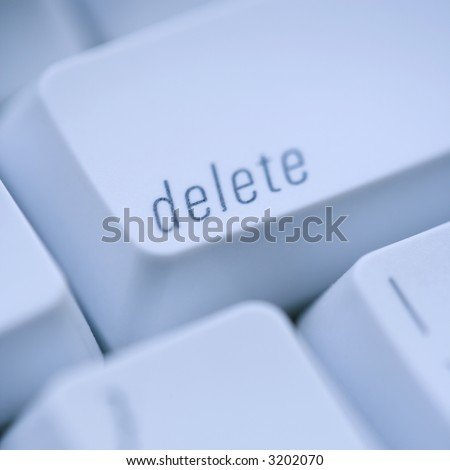 Close up of delete key on computer keyboard.