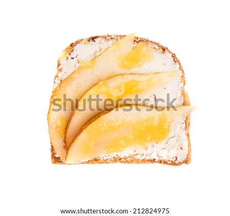 Close up of delicious apple sandwich. Whole background. - stock photo