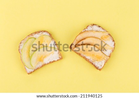 Close up of delicious apple sandwiches. Whole background.