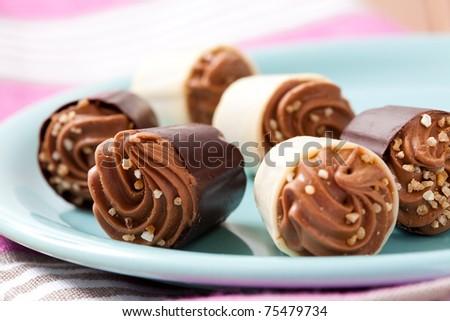 Close-up of delicious chocolate pralines. Studio shot. - stock photo