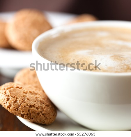 Close-up of delicious coffee with milk froth - stock photo