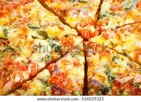 Close-up of delicious homemade pizza. - stock photo