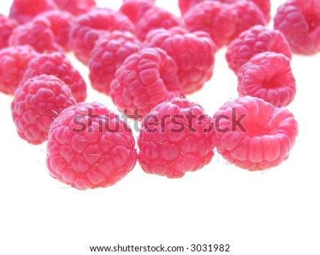 Close-up of delicious red summer raspberries