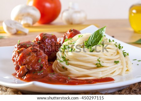 Close-up of delicious spaghetti with meatballs