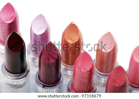 Close up of Different lipstick - stock photo