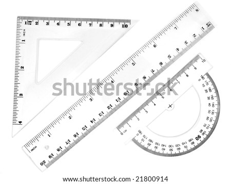 close up of different rulers and  school supplies on white background with clipping path - stock photo