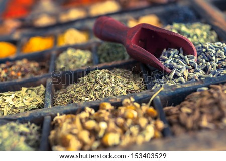Close-up of different Spices and herbs including Lavender. - stock photo