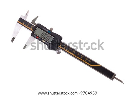 Close-up of digital caliper. Isolated on white background. - stock photo