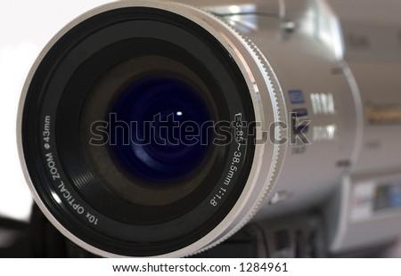 Close up of digital video camera - stock photo