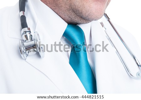Close-up of doctor necktie with stethoscope around neck and blue tie isolated on white background