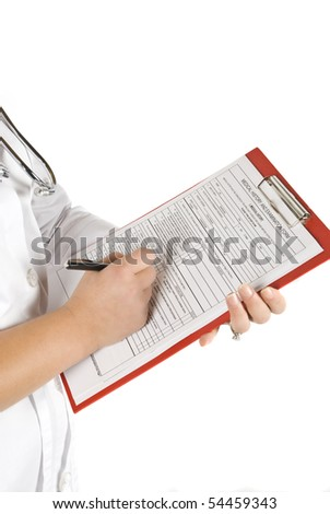 Close-up of doctor with clipboard on white background - stock photo