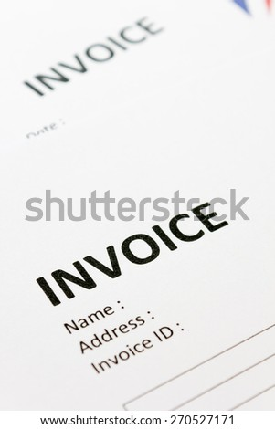 close up of document invoices papers - stock photo