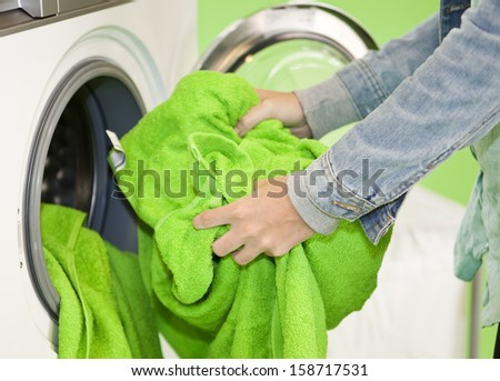Close up of Doing the Laundry