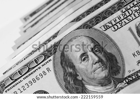 close up of dollar bill (details)