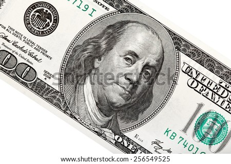 Close up of 100 dollars bank note. - stock photo