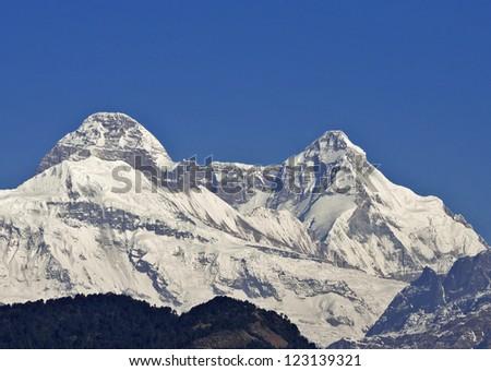 close up of dome shaped Himalayan peak - stock photo