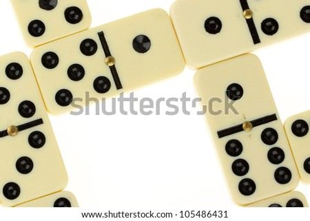Close up of domino on a white background