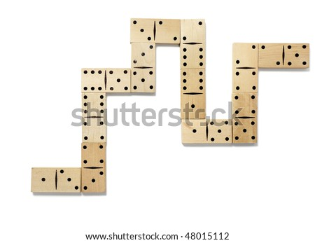 close up of domino on white background with clipping path - stock photo