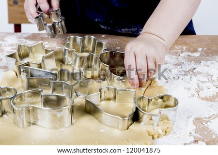 close up of dough on small wooden desk - stock photo