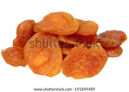 close up of dried apricot isolated on white background