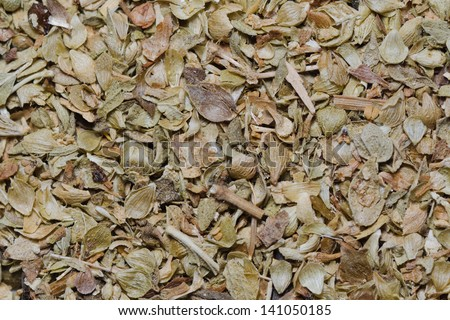 close up of dried oregano
