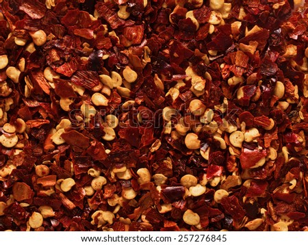 close up of dried red chili flake food background - stock photo