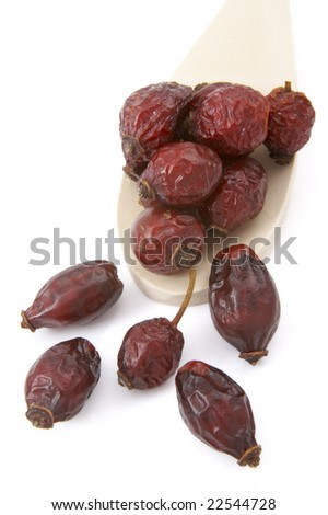 close up of dried rose hip on white background with clipping path, shadow not included