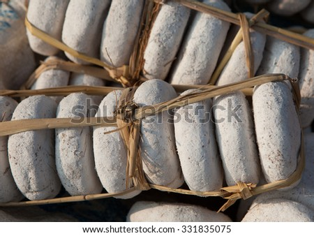 Close up of dried traditional yeast used to make wine and beer in Asia. - stock photo