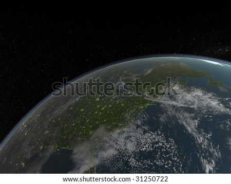 close up of earth and stars in background