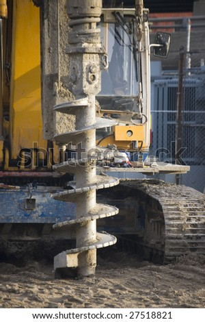 close up of earth digger on a construction site - stock photo