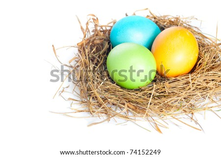 Close up of Easter eggs in bird nest on white background with soft shadow. - stock photo