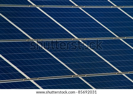 Close up of ecological solar power plant - stock photo