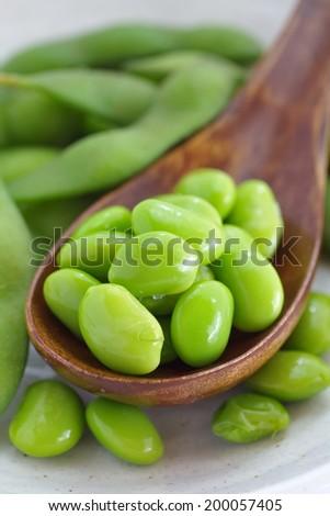 close up of Edamame soy beans  - stock photo