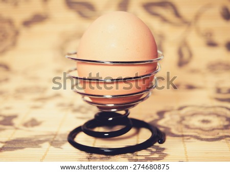 close up of egg - stock photo