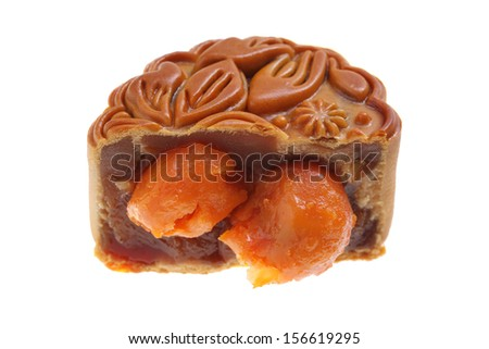 Close up of egg yolk mooncakes isolated on white background. - stock photo