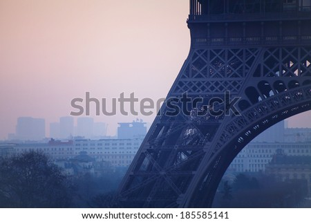 close up of Eiffel tower, pollution in Paris, France - stock photo