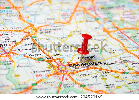 Close up of  Eindhoven , Netherlands  map with red pin  - Travel concept - stock photo