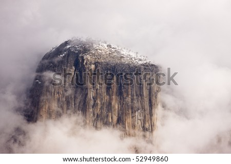 Close-up of El Capitan During Winter Storm - stock photo