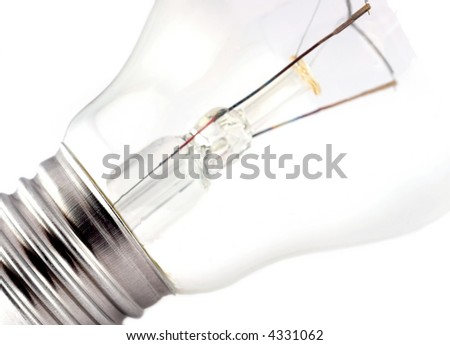 Close-up of Electric bulb  isolated on white