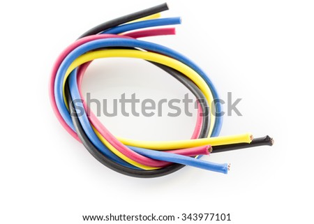 Close-up of electric cables. There is a mix of plastic and copper to recover. - stock photo