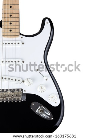Close-up of electric guitar body isolated over white background - stock photo