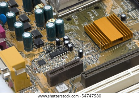 Close up of electronic board with circuits and components - stock photo