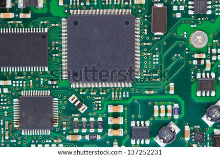 close-up of electronic circuit board - stock photo